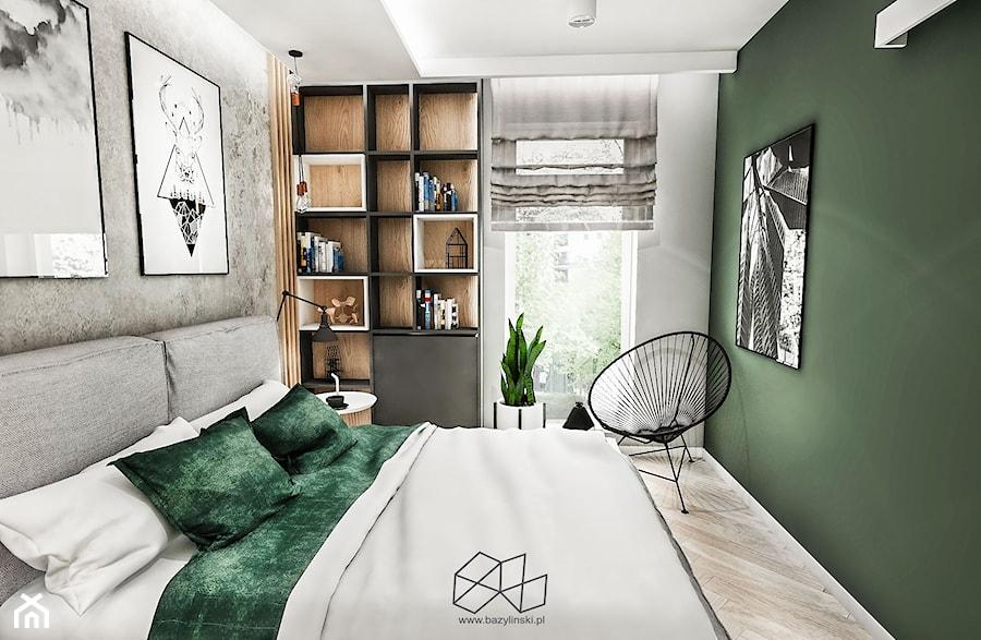 Sypialnia W Kawalerce łódż 2019 Mała Szara Zielona