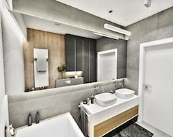Projekt Mieszkania W-wa 2019 - Średnia czarna łazienka w bloku w domu jednorodzinnym bez okna - zdjęcie od BIBI - Homebook