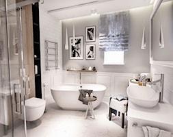 PROJEKT WNĘTRZ DOMU POD WARSZAWĄ 2018 - Duża szara łazienka w bloku w domu jednorodzinnym z oknem, styl vintage - zdjęcie od BIBI
