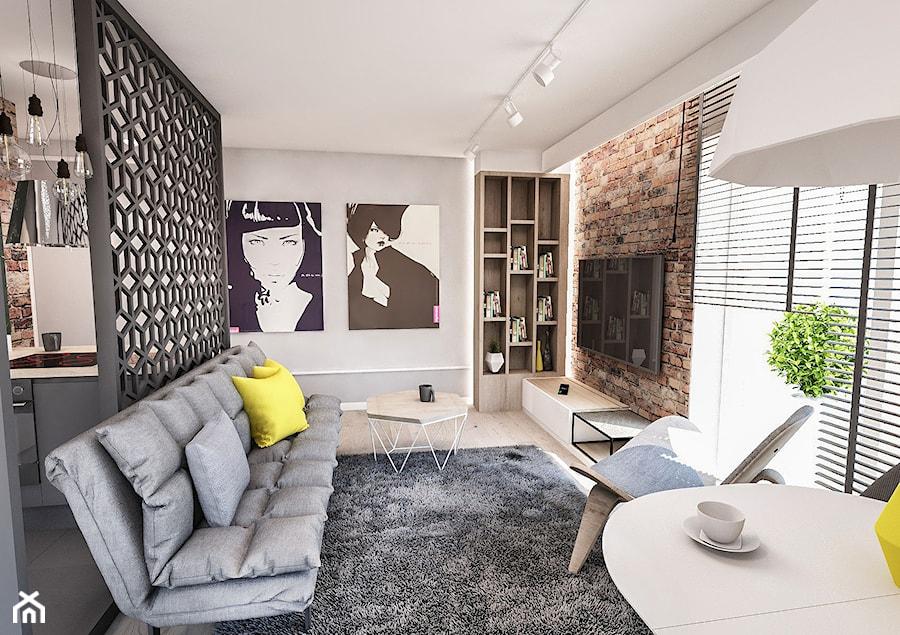 Projekt mieszkania 60 m2 w Gdańsku - Średni biały brązowy salon z kuchnią - zdjęcie od BIBI