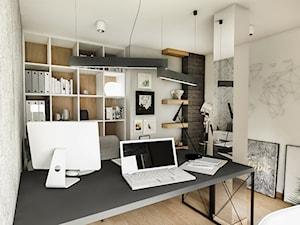 PROJEKT DOMU JEDNORODZINNEGO - GDAŃSK 2018r. - Średnie beżowe szare biuro domowe w pokoju, styl vintage - zdjęcie od BIBI