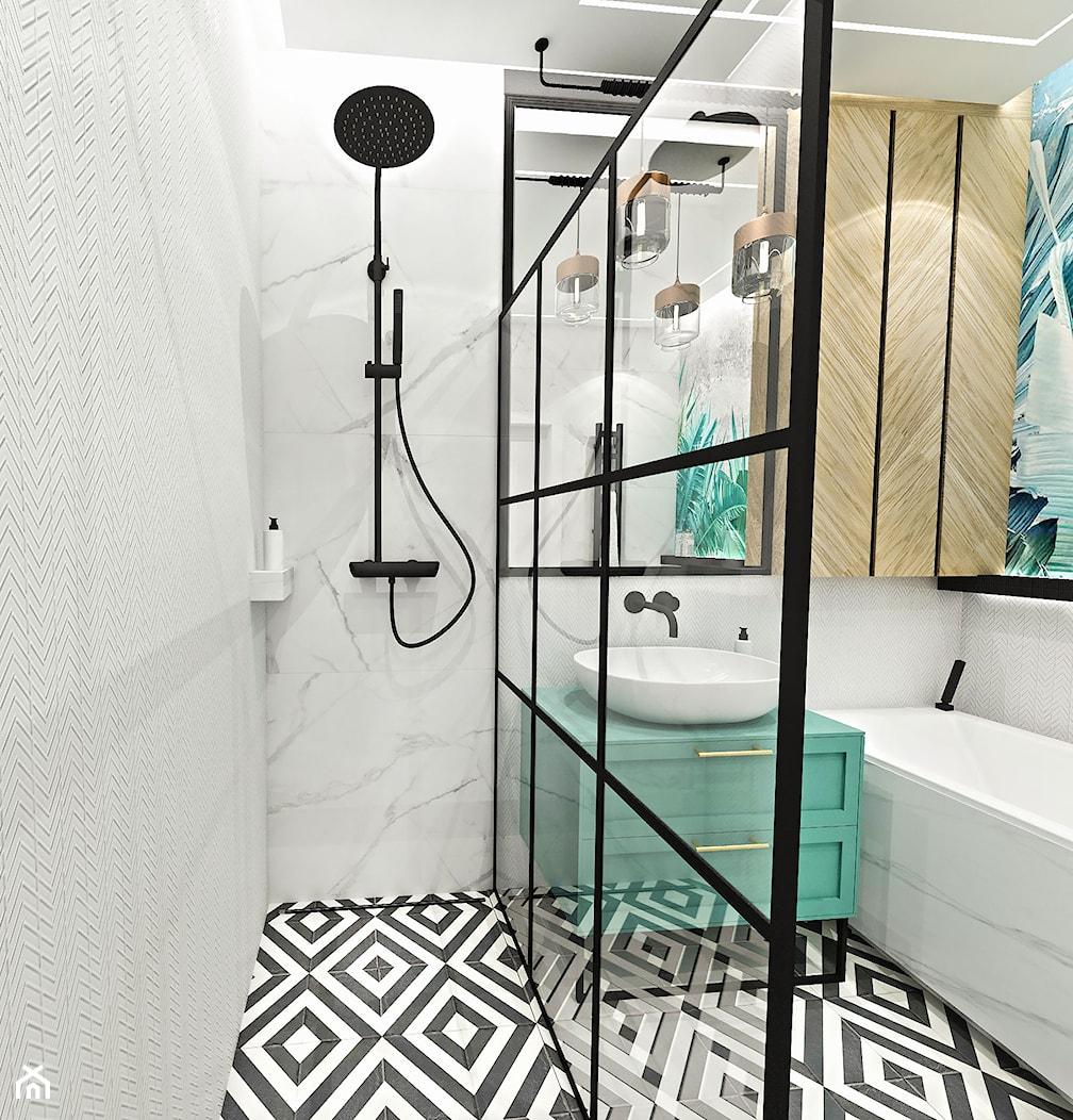 PROJEKT ŁAZIENKI - 6m2 - Średnia łazienka w bloku w domu jednorodzinnym bez okna, styl nowojorski - zdjęcie od BIBI - Homebook