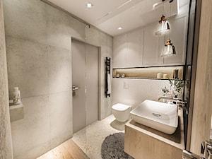 PROJEKT DOMU JEDNORODZINNEGO - GDAŃSK 2018r. - Średnia szara łazienka w bloku w domu jednorodzinnym bez okna, styl vintage - zdjęcie od BIBI