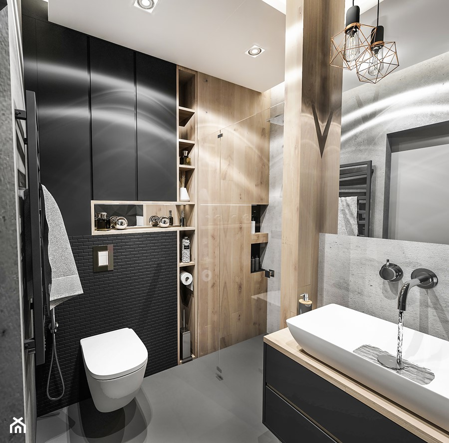 Projekt Mieszkania W Wa 2019 średnia Czarna łazienka W