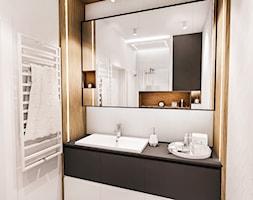 PROJEKT MIESZKANIA 46 m2-Wawa 2018 - Średnia czarna łazienka w bloku w domu jednorodzinnym bez okna, styl skandynawski - zdjęcie od BIBI