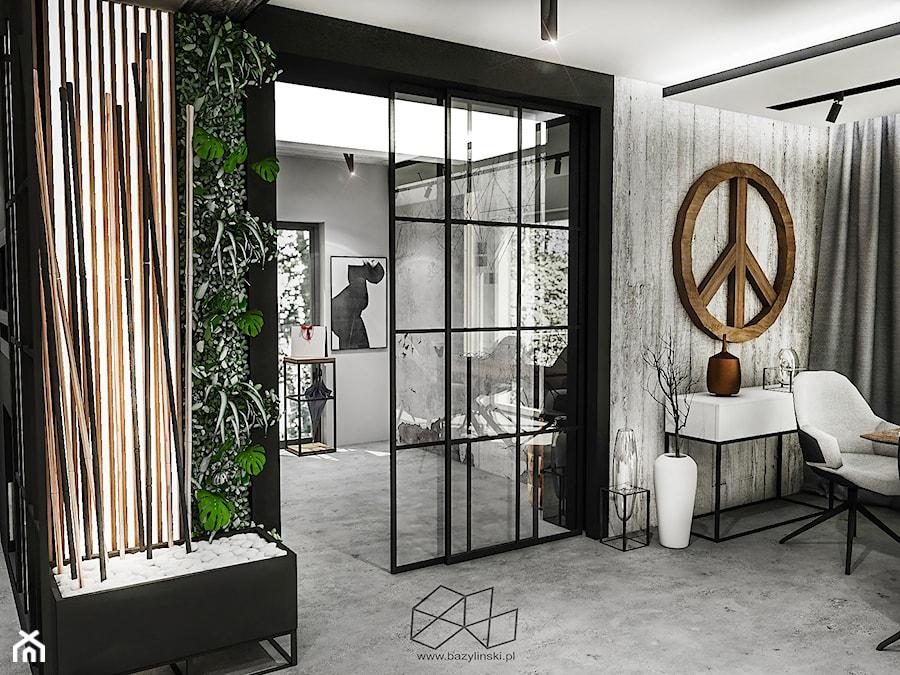 PROJEKT DOMU -PABIANICE 2018 - Czarny salon, styl industrialny - zdjęcie od BIBI