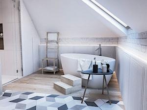 Średnia beżowa łazienka na poddaszu w domu jednorodzinnym bez okna, styl skandynawski - zdjęcie od BIBI