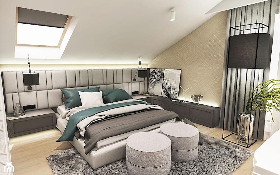 Projekt wnętrza domu pod Sewillą - Średnia biała sypialnia małżeńska na poddaszu - zdjęcie od BIBI