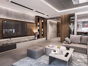 Projekt domu pod Łodzią - Średni szary salon z kuchnią z jadalnią, styl nowoczesny - zdjęcie od BIBI