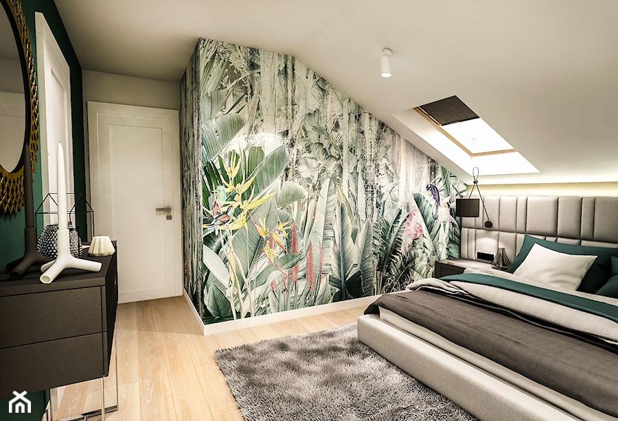 Projekt wnętrza domu pod Sewillą - Średnia szara zielona kolorowa sypialnia małżeńska na poddaszu - zdjęcie od BIBI
