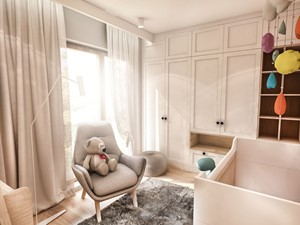 Projekt Mieszkania W-wa 2019 - Mały szary pokój dziecka dla chłopca dla dziewczynki dla ucznia dla niemowlaka - zdjęcie od BIBI