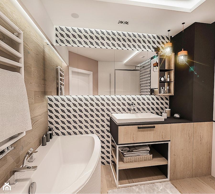 PROJEKT MIESZKANIA -Wawa Bemowo 2018 - Średnia biała beżowa czarna łazienka w bloku w domu jednorodzinnym bez okna, styl industrialny - zdjęcie od BIBI