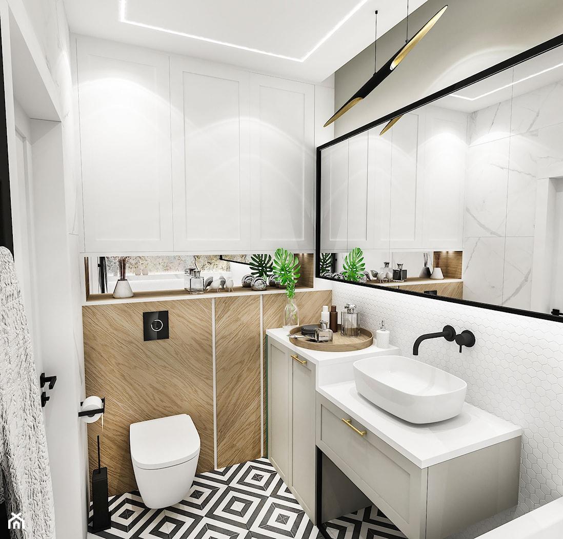 PROJEKT ŁAZIENKI - 6m2 - Mała biała łazienka w bloku w domu jednorodzinnym bez okna, styl vintage - zdjęcie od BIBI - Homebook