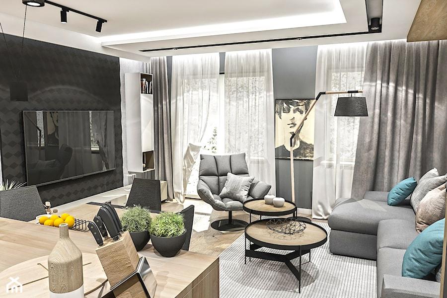 PROJEKT MIESZKANIA -Wawa Bemowo 2018 - Średni szary czarny salon z jadalnią, styl industrialny - zdjęcie od BIBI