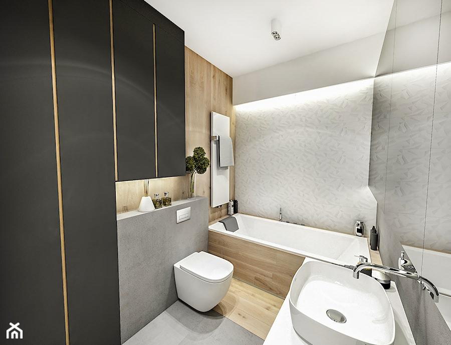 Projekt Mieszkania W-wa 2019 - Mała biała beżowa łazienka w bloku w domu jednorodzinnym - zdjęcie od BIBI