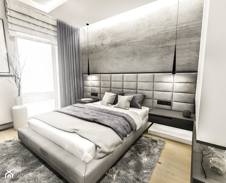 PROJEKT MIESZKANIA - LDZ 2018 - Średnia biała sypialnia małżeńska z balkonem / tarasem - zdjęcie od BIBI