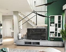 Projekt wnętrza domu pod Sewillą - Mały biały zielony salon - zdjęcie od BIBI