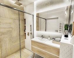 PROJEKT MAŁEGO MIESZKANIA - ŁDŻ 2018 - Mała biała beżowa łazienka w bloku w domu jednorodzinnym bez okna, styl skandynawski - zdjęcie od BIBI