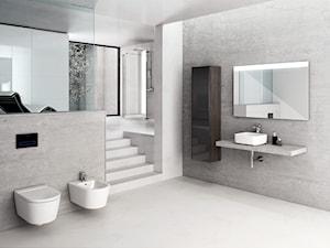 Inspiracje - Duża szara łazienka na poddaszu w bloku w domu jednorodzinnym bez okna - zdjęcie od Roca
