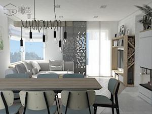 Dom nad Bzurą - Średnia otwarta szara jadalnia w salonie, styl nowoczesny - zdjęcie od Stojak Studio