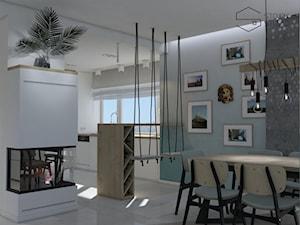 Dom nad Bzurą - Średnia otwarta biała szara jadalnia w salonie, styl nowoczesny - zdjęcie od Stojak Studio