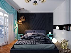 Sypialnia - Mała biała czarna sypialnia małżeńska, styl tradycyjny - zdjęcie od Karolina Żaczek