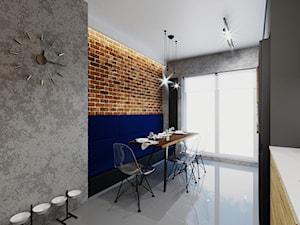 Mieszkanie w stylu industrialnym/nowoczesnym - Średnia zamknięta szara czarna niebieska kuchnia jednorzędowa z oknem, styl industrialny - zdjęcie od Karolina Żaczek