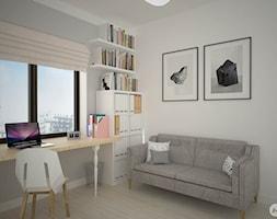 Projekt mieszkania 70 m2 ul. Sasanki, Warszawa - 'makeover' - Średnie białe biuro kącik do pracy w pokoju, styl skandynawski - zdjęcie od A1Studio