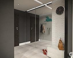 Projekt wnętrz mieszkania 53m2 w Warszawie - Średni biały czarny hol / przedpokój, styl skandynawski - zdjęcie od A1Studio