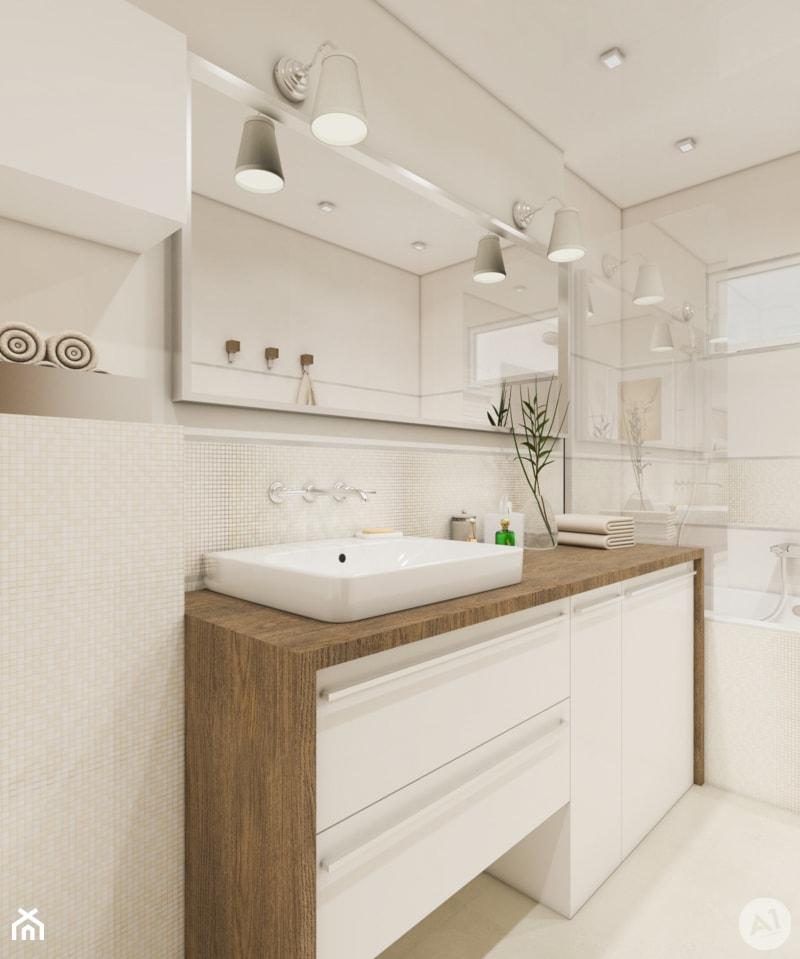 Projekt łazienka w ciepłych kolorach - 'makeover' - Średnia beżowa łazienka, styl nowoczesny - zdjęcie od A1Studio