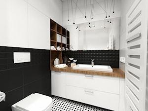 Projekt mieszkania 90 m2 Warszawa - Mała biała czarna łazienka na poddaszu w bloku w domu jednorodzinnym bez okna, styl nowoczesny - zdjęcie od A1Studio