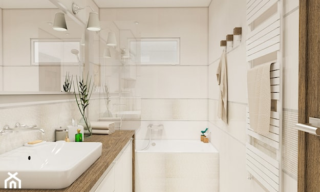 biała łazienka, drewniany blat łazienkowy, lustro ścienne, mała łazienka