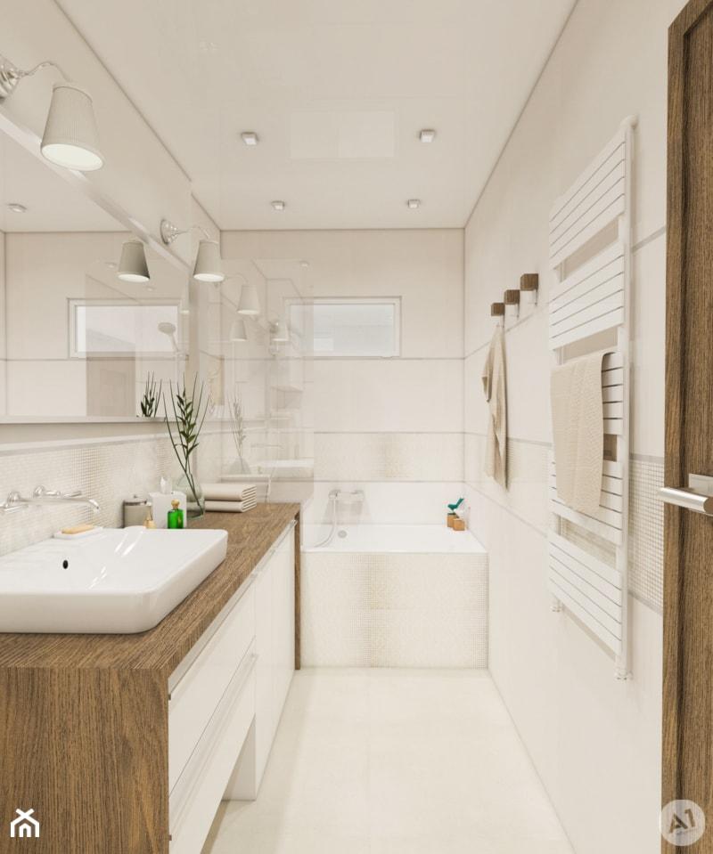 Projekt łazienka w ciepłych kolorach - 'makeover' - Średnia beżowa łazienka z oknem, styl nowoczesny - zdjęcie od A1Studio - Homebook