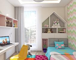 POKóJ DZIEWCZYNKI - Mały biały kolorowy pokój dziecka dla chłopca dla dziewczynki dla ucznia dla malucha, styl nowoczesny - zdjęcie od APP TRENDY Autorska Pracownia Projektowa
