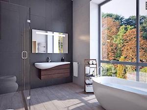 łazienka z wielkim oknem - Duża łazienka w bloku w domu jednorodzinnym z oknem, styl rustykalny - zdjęcie od APP TRENDY Autorska Pracownia Projektowa