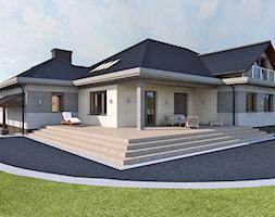 Elewacja - Duży taras z tyłu domu, styl nowoczesny - zdjęcie od APP TRENDY Autorska Pracownia Projektowa