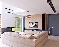 salon z odrobiną złota - Średni szary biały salon z tarasem / balkonem, styl nowoczesny - zdjęcie od APP TRENDY Autorska Pracownia Projektowa - Homebook