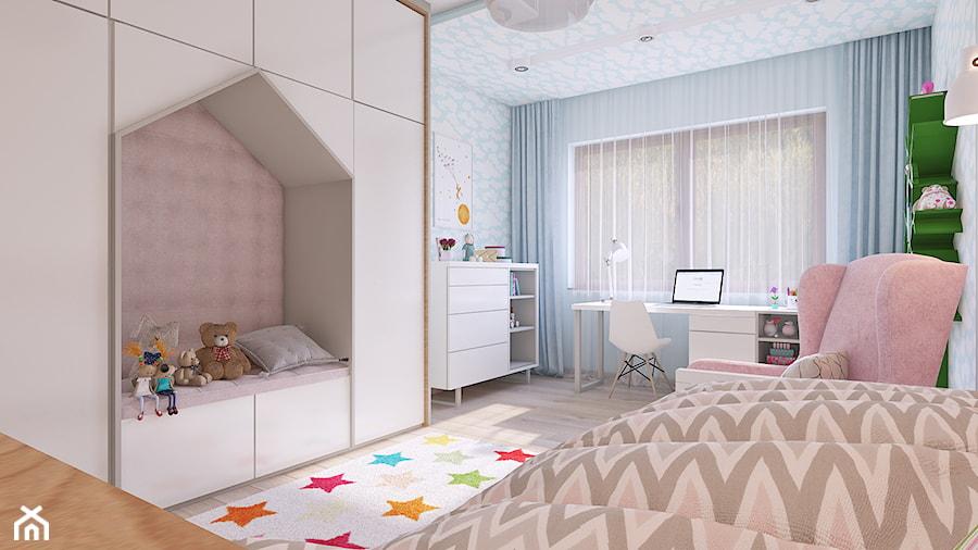 pokój małej dziewczynki - Duży szary niebieski pokój dziecka dla dziewczynki dla ucznia dla nastolatka, styl skandynawski - zdjęcie od APP TRENDY Autorska Pracownia Projektowa