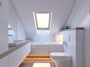 łazienka biała - Mała biała łazienka na poddaszu w domu jednorodzinnym z oknem, styl nowoczesny - zdjęcie od APP TRENDY Autorska Pracownia Projektowa