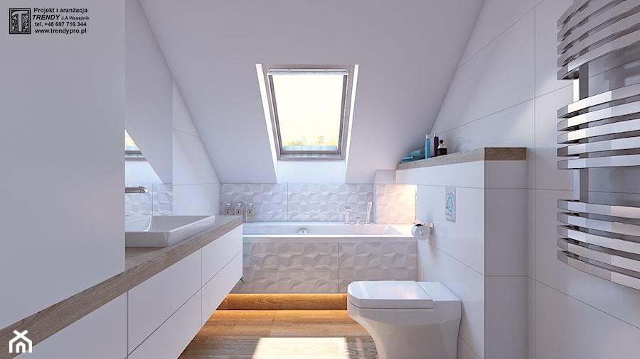 Aranżacje wnętrz - Łazienka: łazienka biała - Mała biała łazienka na poddaszu w domu jednorodzinnym z oknem, styl nowoczesny - APP TRENDY Autorska Pracownia Projektowa. Przeglądaj, dodawaj i zapisuj najlepsze zdjęcia, pomysły i inspiracje designerskie. W bazie mamy już prawie milion fotografii!