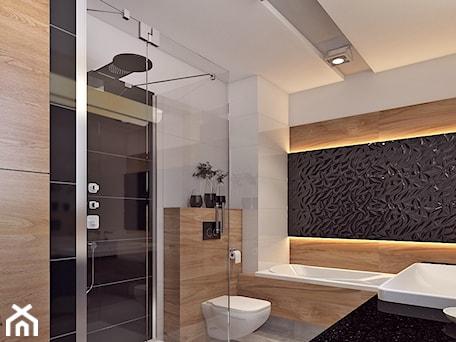 Aranżacje wnętrz - Łazienka: Łazienka 2 - Średnia biała czarna brązowa łazienka w bloku bez okna, styl nowoczesny - APP TRENDY Autorska Pracownia Projektowa. Przeglądaj, dodawaj i zapisuj najlepsze zdjęcia, pomysły i inspiracje designerskie. W bazie mamy już prawie milion fotografii!