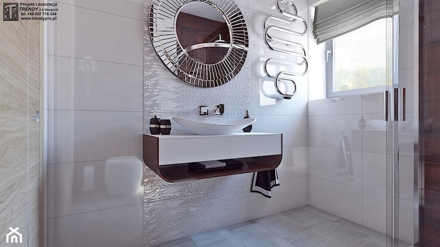 Łazienka glam - Mała biała łazienka na poddaszu w bloku w domu jednorodzinnym z oknem, styl art deco - zdjęcie od APP TRENDY Autorska Pracownia Projektowa