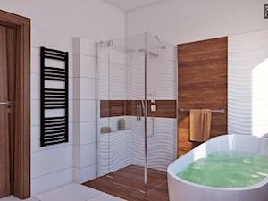 łazienka z drewnem - Średnia biała brązowa łazienka w domu jednorodzinnym z oknem, styl nowoczesny - zdjęcie od APP TRENDY Autorska Pracownia Projektowa