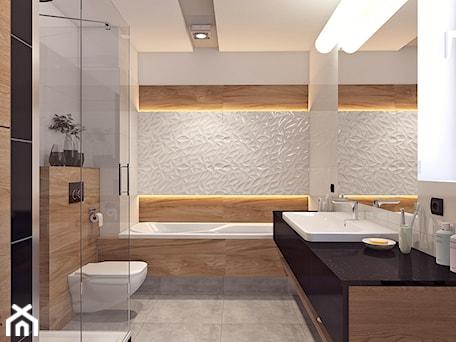 Łazienka 2 - Średnia biała beżowa brązowa łazienka w bloku bez okna, styl nowoczesny - zdjęcie od APP TRENDY Autorska Pracownia Projektowa
