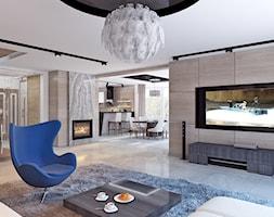 SALON 99 - Duży biały salon z kuchnią z jadalnią, styl art deco - zdjęcie od APP TRENDY Autorska Pracownia Projektowa