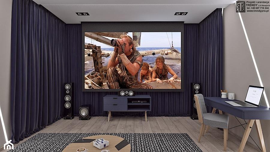 pokój kinowy - Mały szary salon, styl skandynawski - zdjęcie od APP TRENDY Autorska Pracownia Projektowa