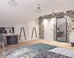 Pokój dla nastolatki - Średni biały szary pokój dziecka dla chłopca dla dziewczynki dla ucznia dla malucha dla nastolatka, styl rustykalny - zdjęcie od APP TRENDY Autorska Pracownia Projektowa