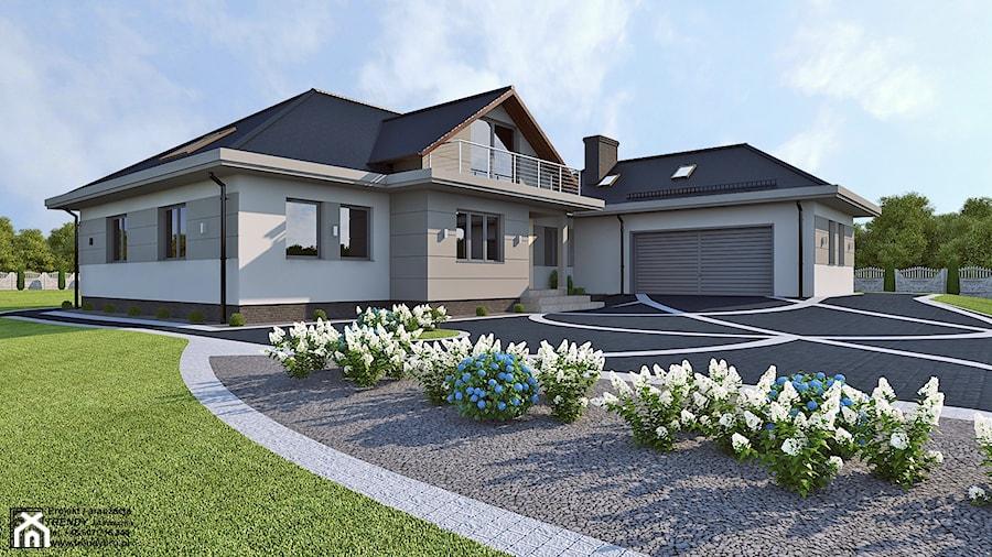 Elewacja - Duży ogród przed domem, styl nowoczesny - zdjęcie od APP TRENDY Autorska Pracownia Projektowa