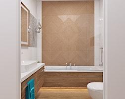 łazienka biała + drewno 11 - Średnia biała łazienka w bloku w domu jednorodzinnym bez okna, styl skandynawski - zdjęcie od APP TRENDY Autorska Pracownia Projektowa
