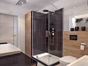 Łazienka 2 - Średnia biała beżowa czarna łazienka z oknem, styl nowoczesny - zdjęcie od APP TRENDY Autorska Pracownia Projektowa